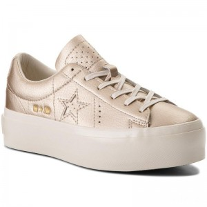 Converse Sneakers One Star Platform Ox 559924C Light Gold/Light Gold/Egret