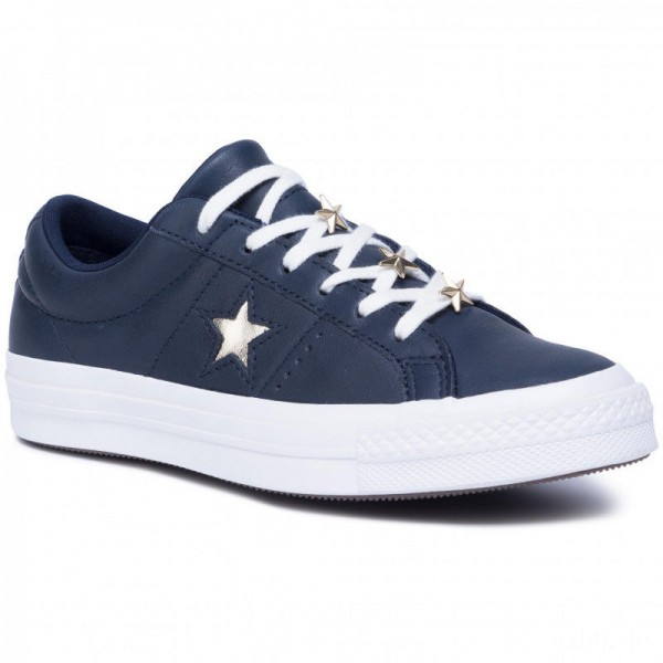 Converse Turnschuhe One Star Ox 165021C Obsidian/Light Gold/White